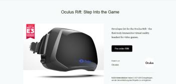 Kickstarter-Kampagne Oculus Rift